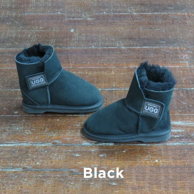 Kids Velcro Black Ugg Boots Perth
