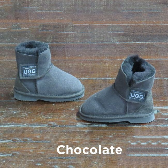 Kids Velcro Chocolate Ugg Boots Perth