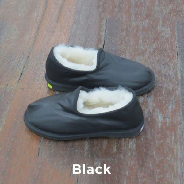 Leather Black Trekker Slippers Perth