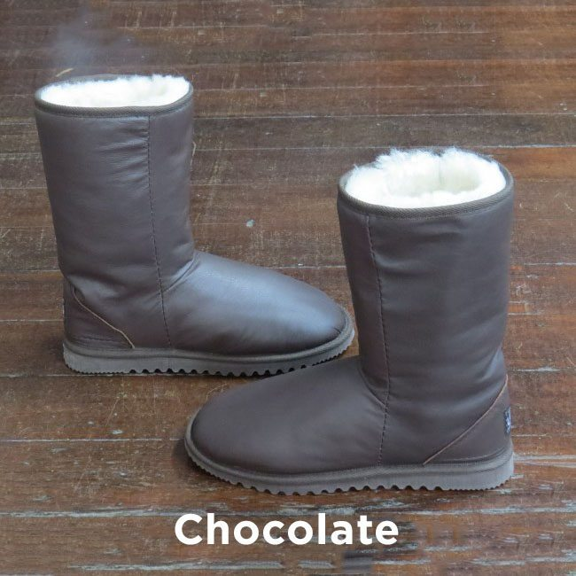 Leather Chocolate Claf Boots Perth