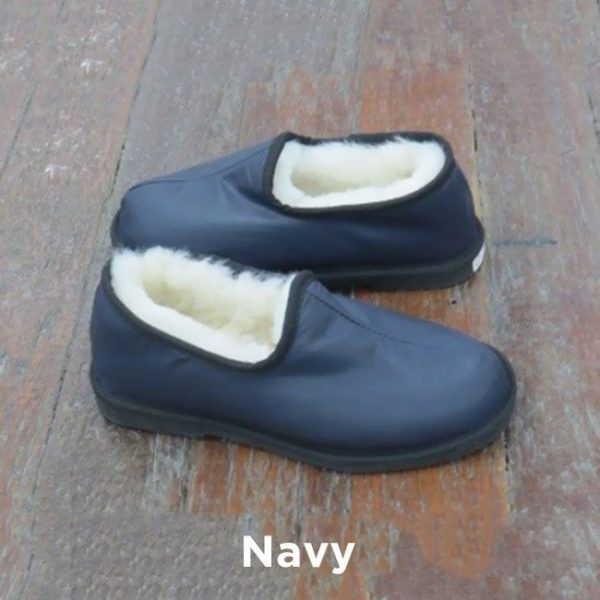 Leather Navy Trekker Slippers Perth
