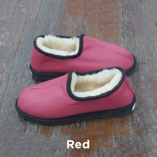 Leather Red Trekker Slippers Perth