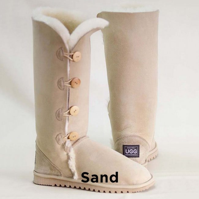 Tall Sand Button Up Ugg Boots Perth