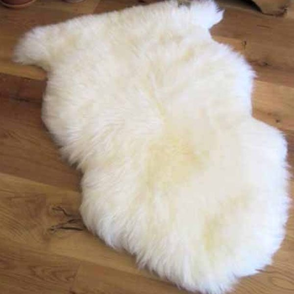 single white Longhair sheepskin