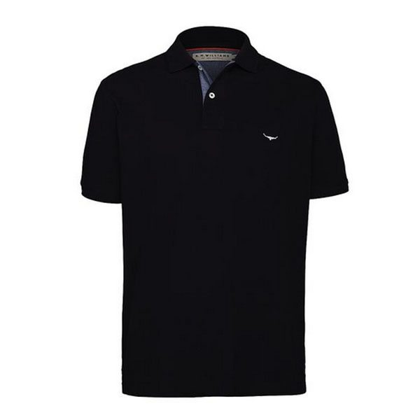 R.m Williams Polo Shirt Black Eagle Wools