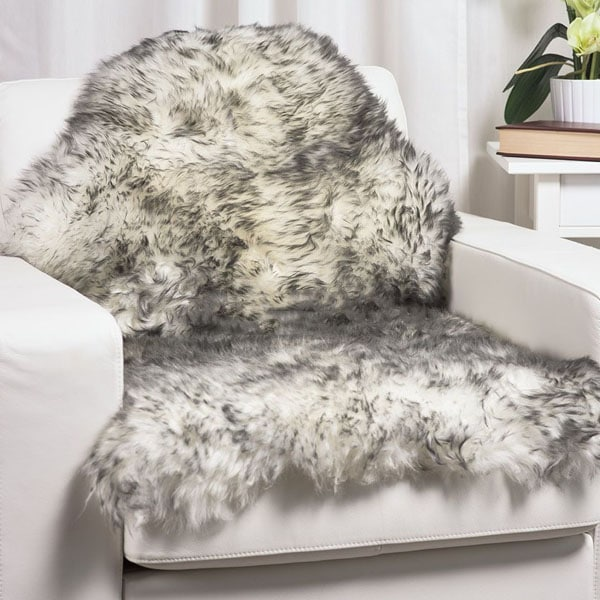 White With Grey Tips Single Sheep Skin Rug