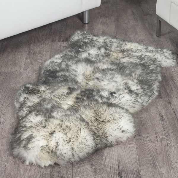 White With Grey Tips Single Sheep Skin Rug Eaglewools