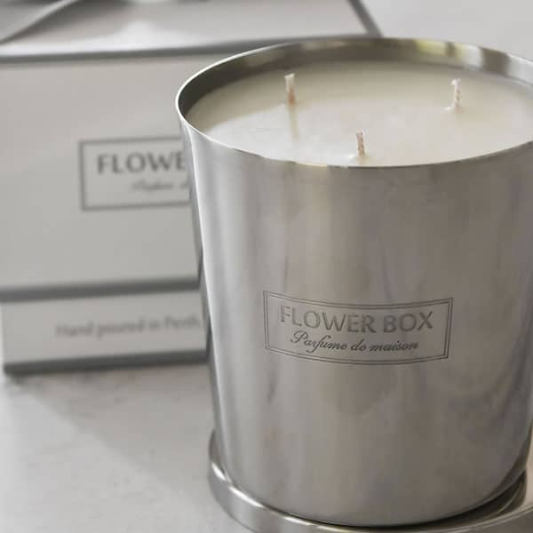 Flowerbox Silver Candles